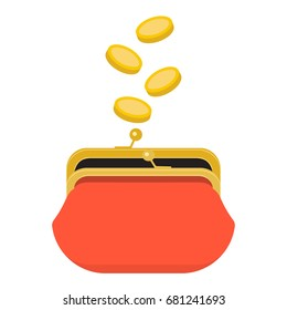 Red opened purse infographics concept. Gold coins raining to open wallet. Golden coins money dropping or falling in open purse. Raster illustration