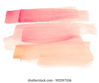 Red orange aquarelle brush paint paper texture isolated stain element for text design, template. Watercolor bright vivid warm color hand drawn illustration background for tag, backdrop
