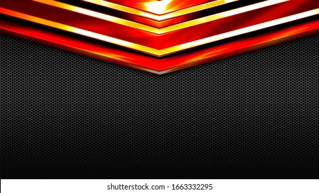 red orange and black shiny metal background and mesh texture. metal background and texture. 3d illustration design. luxury and shiny for game and futuristic template.