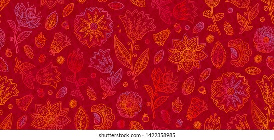 Red and orange doodle flowers in line art style raster seamless vintage pattern tile.