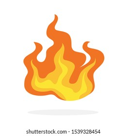Red and orange fire flame. Hot flaming element. Idea of energy and power. Isolated  illustration