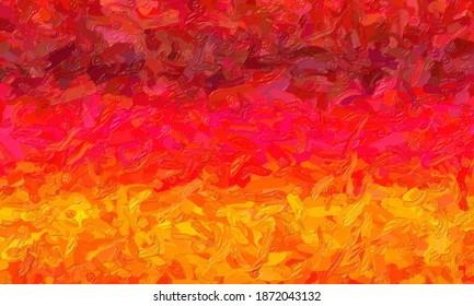 Red and orange large color variation impasto background, digitally created.