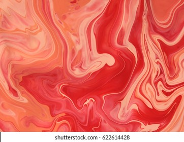 Red and orange marble texture design, color mix watercolor painting, art print