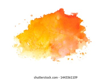 red orange watercolor with colorful shades brush paint on paper background