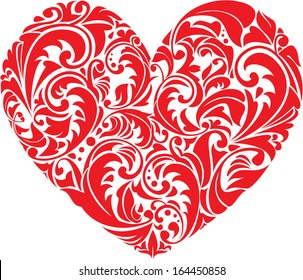 Red ornamental  floral heart on white background. Element for your Valentine`s Day Design. Raster version