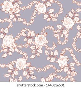 red outline seamless ornament, flower pattern of roses, buds, leaves, branches, berries gundures, rowan, currants on the gray backdrop, for print in textile, wallpaper, scrapbook, craft, greeting card