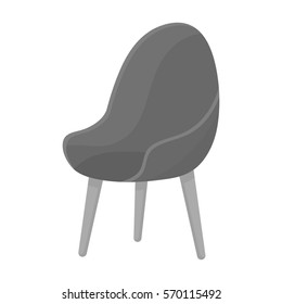 Red oval chair icon in monochrome style isolated on white background. Office furniture and interior symbol stock bitmap, raster illustration.