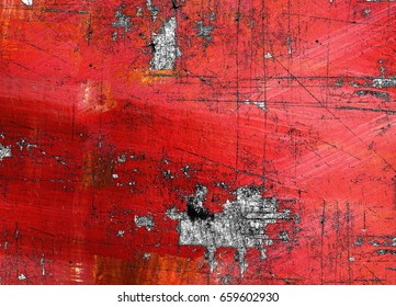 Red paint on metal