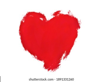 Red paint on a white background, like a heart. Illustration created from a tablet  Use it for illustration or clip art in Valentine Concept.