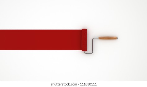 Red Paint Roller - Isolated on White Background