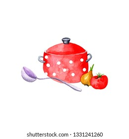 red pan, ladle and vegetables drawing in watercolor at white background