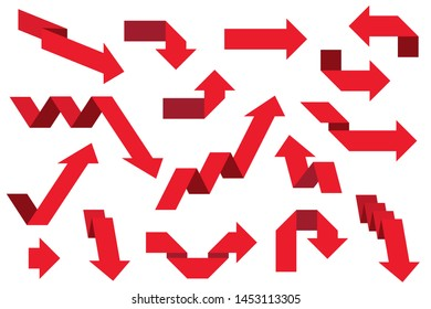 Red paper arrows. Set. Illustration isolated on white background. Raster version