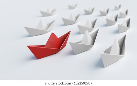 Red paper boat in front of others. Leadership and difference concept. 3D rendered illustration.