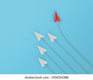 Red paper plane changing direction from white paper plane on blue background. business concept for new ideas creativity. paper art style, 3d illustration.