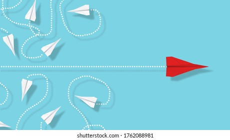 Red paper plane emerge from group of chaotic flying white paper planes on blue background, business concept for leadership, new ideas, innovation or creativity, 3D illustration