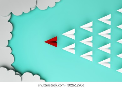 Red paper plane of leading leadership concept