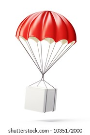 red parachute isolated on a white. 3d illustration