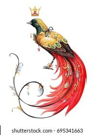 Red paradise bird