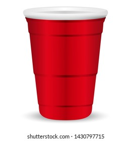 Red party cup realistic 3d illustration. Disposable plastic or paper container mockup for drinks and fun games isolated on white background.