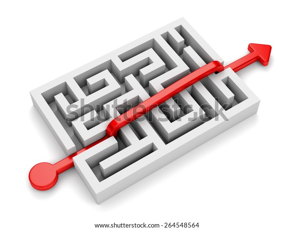 Red path with arrow across labyrinth isolated on white background. Business strategy, creativity and marketing concept.