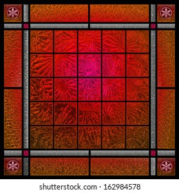 Red patterned stained glass window