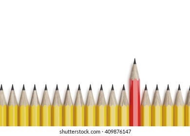Red pencil on the line of yellow pencils. Top view. 3d rendering