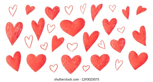 Red pencil strokes texture hand drawn hearts, Valentines day big set isolated on white background