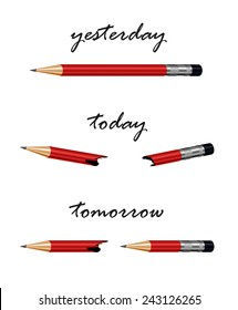 Red pencil with words tomorrow, today and yesterday. Conceptual illustration, metaphor for solution, strategy, challenge,progress