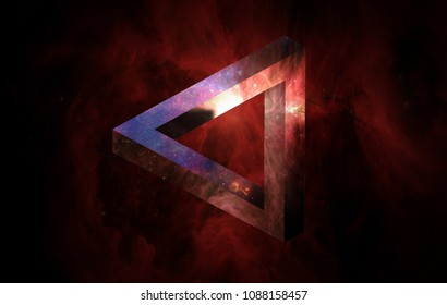 Red penrose triangle. Esher. Abstract Geometric object optical illusion. Flyers. Deep House and Techno Music. Discothèque. Night club. Mega Party. Milky Way Background. Lifestyle.