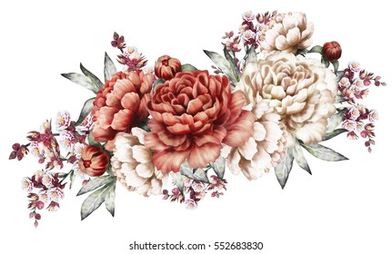 red peonies. watercolor flowers. floral illustration in Pastel colors. horizontal bouquet of flowers isolated on white background. Leaf and buds. Romantic composition for wedding or greeting card.