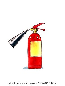 Red pepper extinguisher. Humorous watercolor illustration