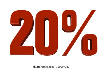Red percent, isolated on white background. High resolution image.