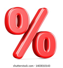 Red percentage sign 3D render illustration isolated on white background