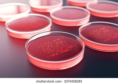 Red petri dishes with samples for DNA sequencing,3d rendering.