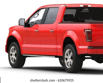 Red pickup 3d car illustration isolated on white back view