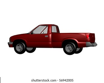 red pickup car isolated