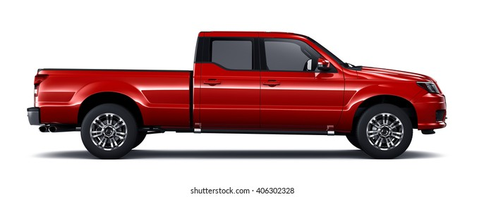 Red  pickup truck - 3D render on white