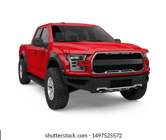 Red Pickup Truck Isolated. 3D rendering