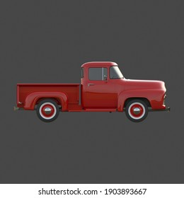Red pickup truck on gray background. Side view. 3rd render.