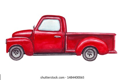 Red pickup truck. Watercolor christmas car isolated on white