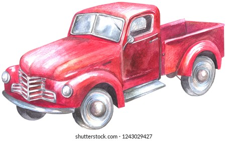 Red Pickup Truck. Watercolor painting isolated on white background.