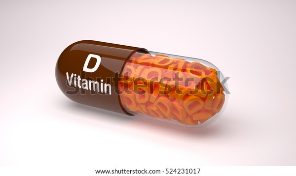 Red pill or capsule filled with vitamin D.3D Render.