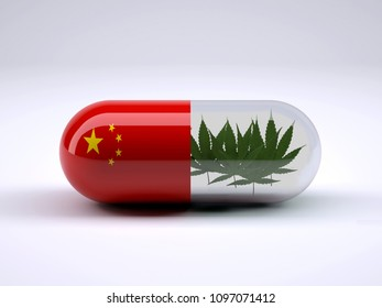red pill with China flag wrapped around it and marijuana leafs inside, 3d illustration