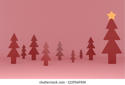 Red pines background scene. Set..3d illustration