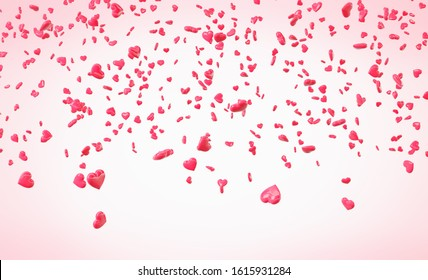 Red and pink falling hearts Valentine day background
