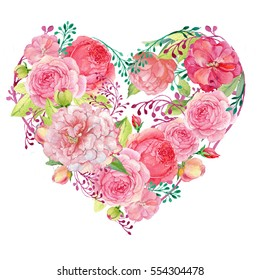 red and pink flowers peonies and roses in the form of heart on a white background.watercolor illustration