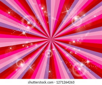 Red, pink, and purple abstract rays with stars bursting all around.  Perspective with concentration lines.  Groovy, psychedelic Valentines background.