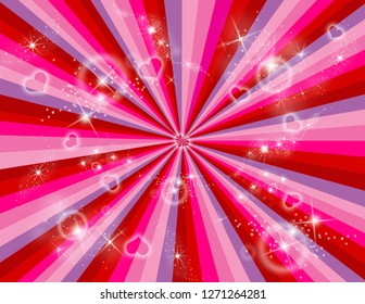 Red, pink, and purple abstract rays with stars and hearts bursting all around.  Perspective with concentration lines.  Groovy, psychedelic Valentines background.