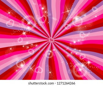 Red, pink, and purple abstract wavy rainbow perspective.  Perspective with concentration lines.  Groovy, psychedelic Valentines background.