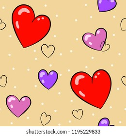 Red, pink and purple hearts pattern. Lignt beige background. Seameless pattern.